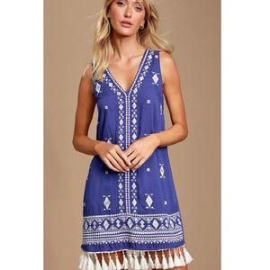 Lulu's Chic Blue Embroidered Vacation Shift Dress